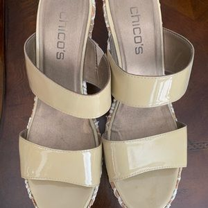 Chico's Wedge Nude Sandals lace wedge heel detail